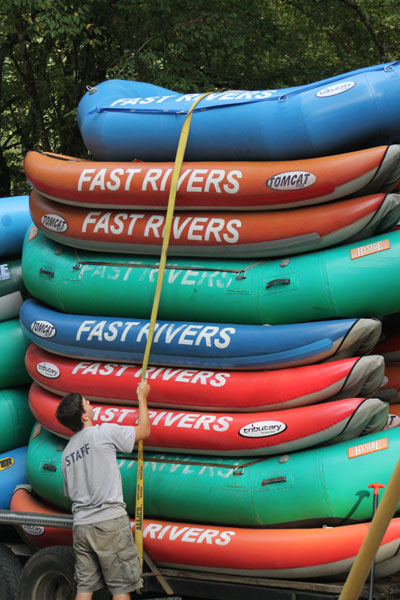 Boats at the Adventurous Fast Rivers outpost on the Nantahala River