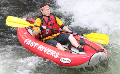 Single funyak at adventurous fast rivers rafting on the nantahala river in bryson city NC