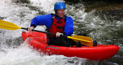 Sit on top kayak at adventurous fast rivers on the Nantahala River in western north carolina